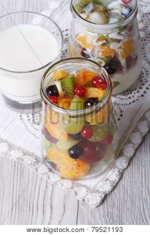 Fresh Fruit With Yogurt In A Glass Jar Vertical Top View