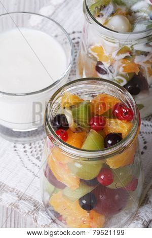 Fresh Fruit In A Jar And Yogurt Close Up Vertical Top View