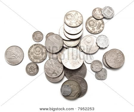 Various Coins Of The Ancient Sample On A White Background