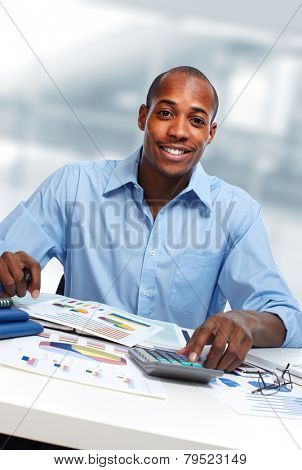 African-American Accountant business man working in office