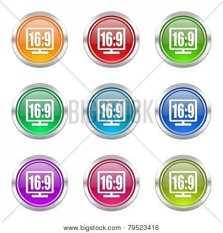 16 9 display icons set