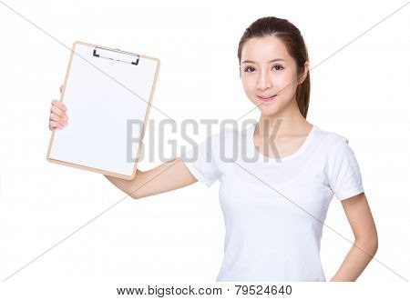 Aisan Woman hold with clipboard