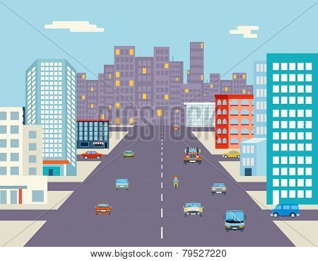 car ride driving city street background flat vector illustration