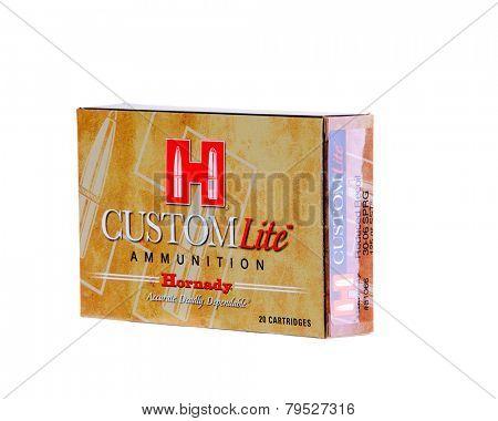 Hayward, CA - December 31, 2014: Box of Hornady Custom Lite Ammunition