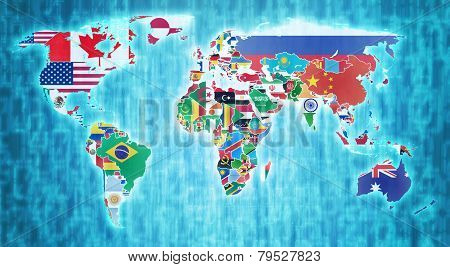 National Flags On World Map