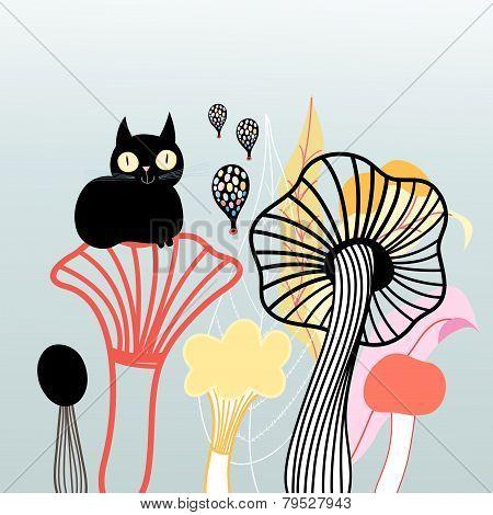 Mushrooms And Cat Graphics