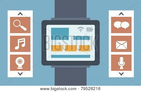 Vector Flat Illustration Of Intelligence Watch And Technology Functions