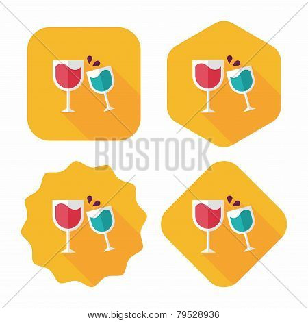Martini Glass Cheers Flat Icon With Long Shadow,