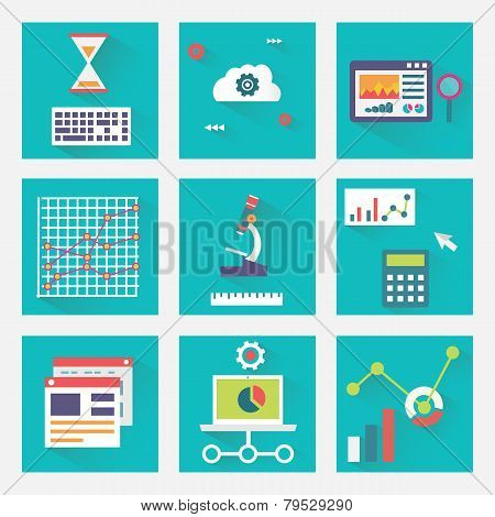 Vector Flat Set Of Business Charts With Long Shadows. Business Process Of Analytics And E-commerce