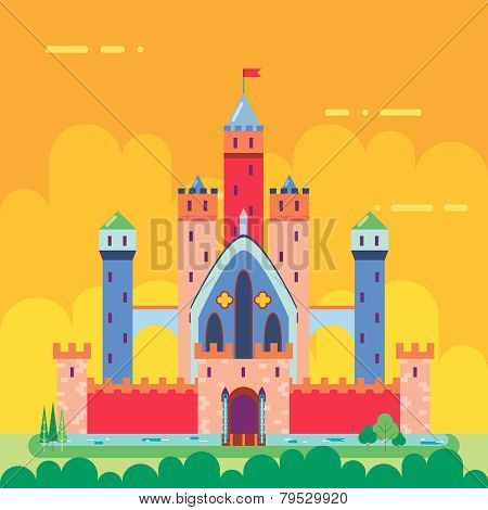 Cartoon Magic Fairytale Castle Flat Design Icon Summer Landscape Background Template Vector Illustra