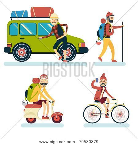 Happy Smiling Man Geek Hipster Character with Car Traveler Backpack Schooter Bike Icon Travel Lifest