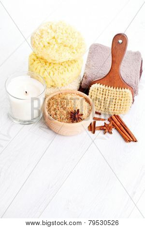 bowl of aromatic cinnamon bath salt - beauty treatment
