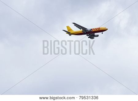 A Dhl Boeing 757 On Approach .