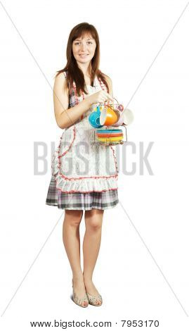Maid With Set Of Tea Cups
