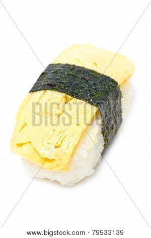Tamago Nigiri Isolated On White.