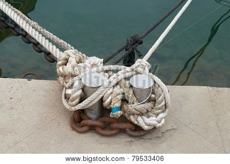 Mooring And Knight With Rope
