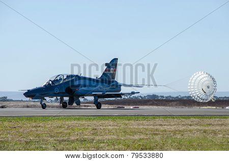 Jet fighter landing