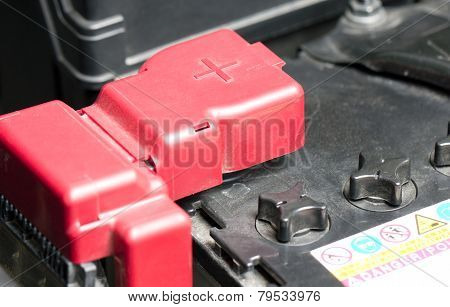 Car Battery With Red Positive Polarity.