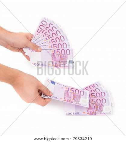 Hands holding euros banknotes
