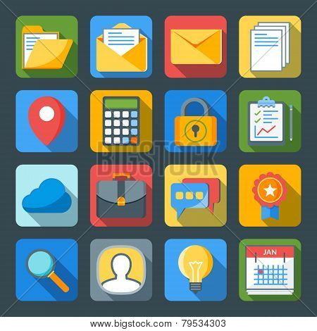 Flat Style Icon Set For Web And Mobile Application. Basic Icons Mail, Calculator, Folder, Calendar,