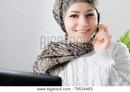 Middle Eastern Woman at Call Center