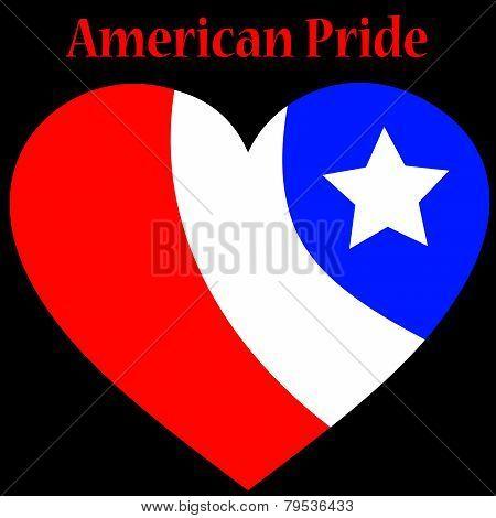 American Pride Heart Over Black