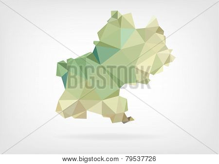 Low Poly map of french region Midi Pyrenees