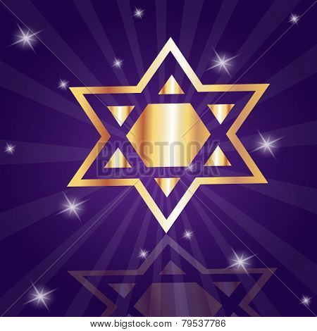 Purple Star Burst With A Gold Tone Star