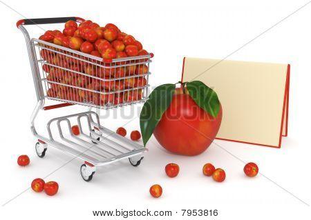 Shopping Cart Full Of Red Apples