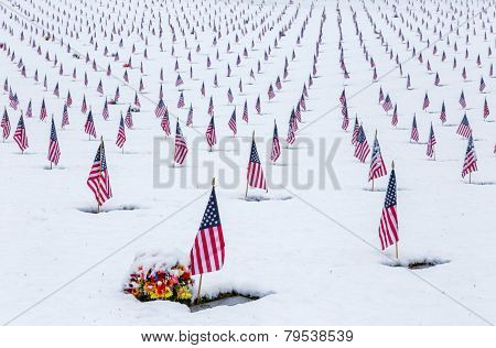 Snow-covered Veteran Cemetary with American Flags