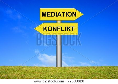 Sign showing mediation or conflict