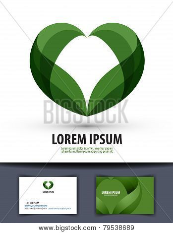 Ecology. The leaves are heart-shaped. Logo, icon, template, emblem