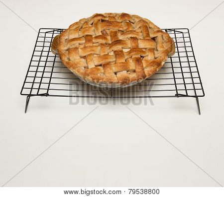 Apple Pie With Lattice Crust And Copy Space