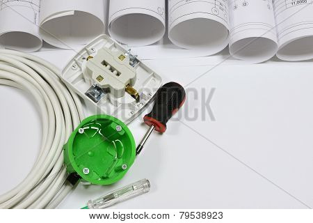 Drawing rolls, electrical hardware tools and appliances composition