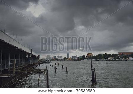 Moody Skies Over Riverbank
