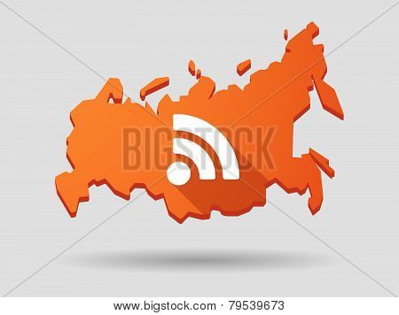 Long Shadow Russia Map Icon With A Rss Feed