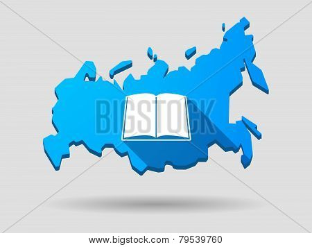 Long Shadow Russia Map Icon With A Book