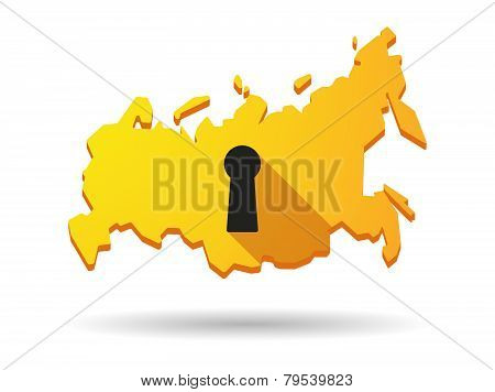 Long Shadow Russia Map Icon With A Key Hole