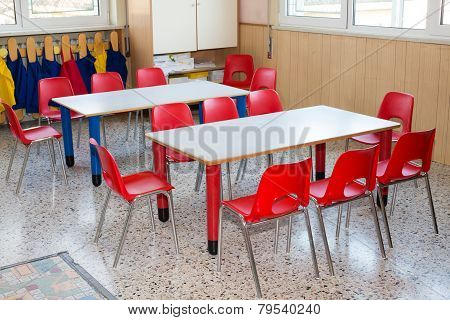 Classroom Nursery With Chairs And Desks For Children