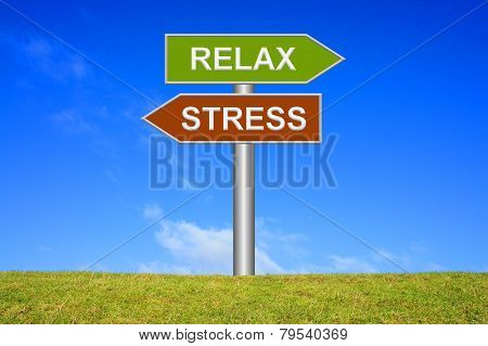 Sign showing stress or relax