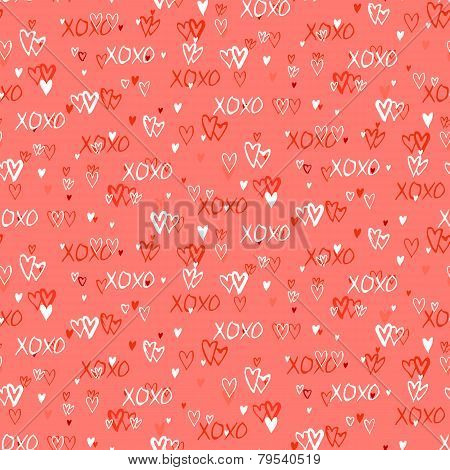 Pattern with hand painted hearts