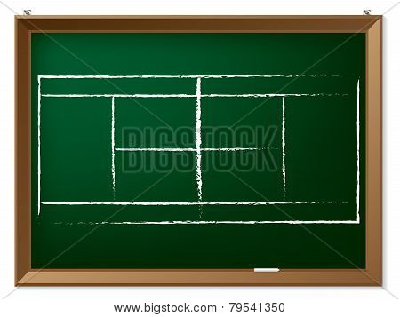 Tennis Field On Chalkboard