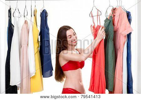 Woman in wardrobe