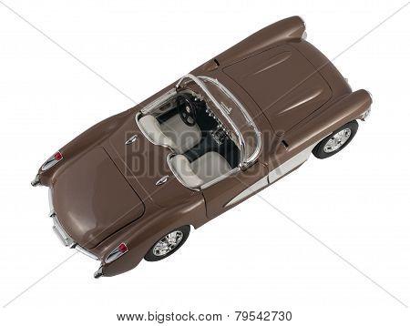 Retro Brown Car Chevrolet Corvette 1957