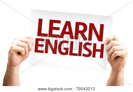 Learn English card isolated on white background