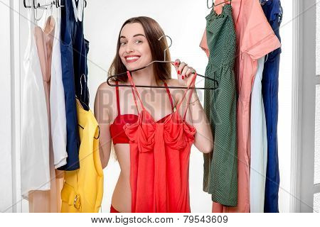 Woman in wardrobe