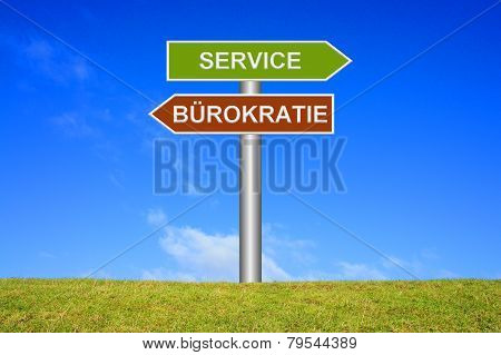 Sign showing buereaucracy or service