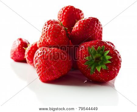 Strawberry On White Reflexive Background