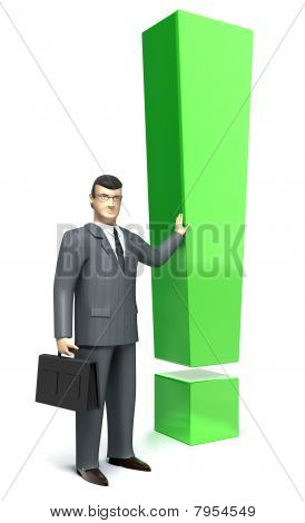 Exclamation mark and businessman 3D render