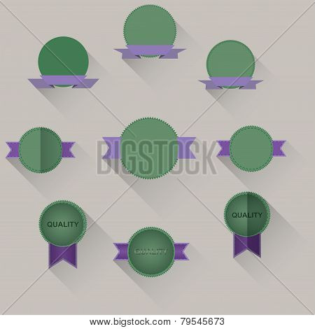 set of labels with ribbons